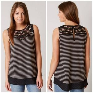 Gimmicks embroidered striped tank top sz M